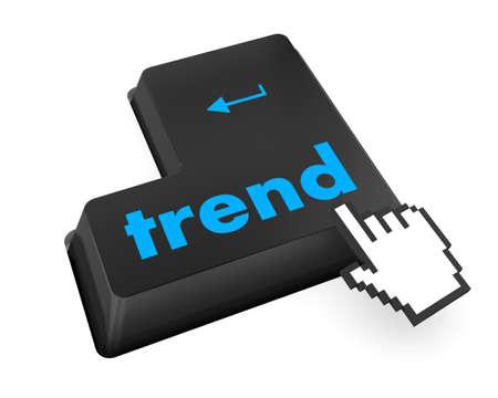 Trend button on keyboard with soft focus. raster photo