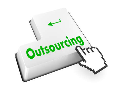 call centers: Keyboard Illustration with Outsourcing wording