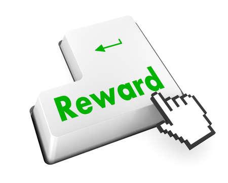Rewards keyboard keys showing payoff Stock Photo