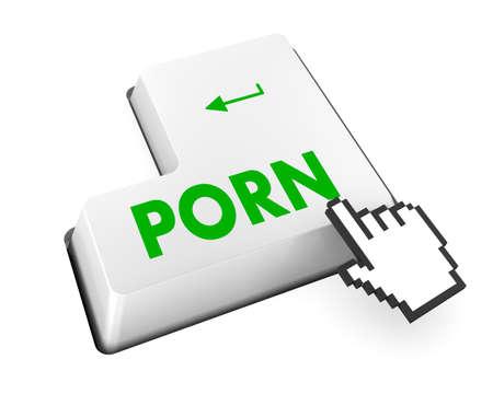 pornografia: Bot�n de porno en el teclado con enfoque suave