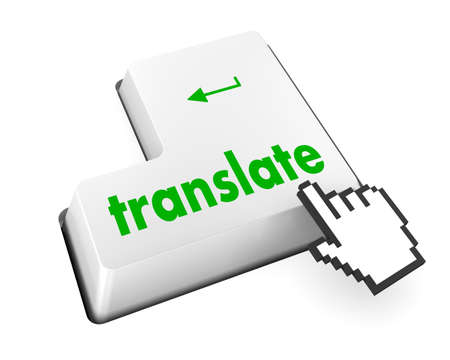 Translate Computer Key In Blue Showing Online Translator photo