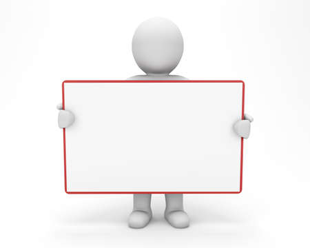 3d man holding blank board photo
