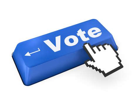 encuestando: botón de votación de teclado de ordenador mostrando el concepto de internet