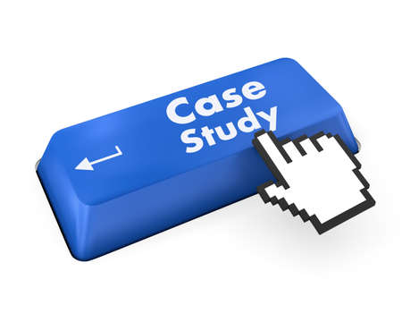 the case selected: Education concept: computer keyboard with word Case Study, selected focus on enter button background, 3d render