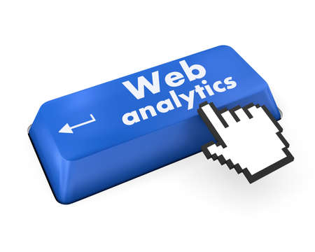 SEO web design concept: computer keyboard with word Web Analytics, selected focus on enter button background, 3d render photo
