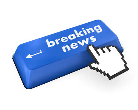 News concept: computer keyboard with word Breaking News on enter button background, 3d render photo