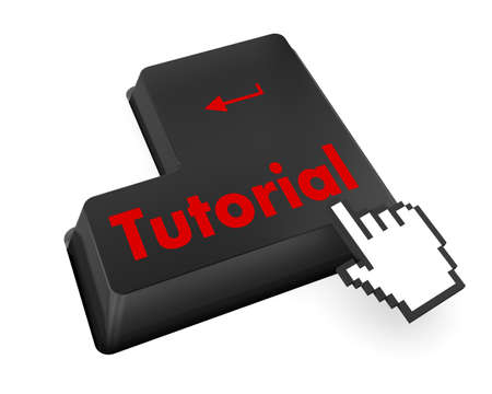 Education concept: computer keyboard with Head With Gears icon and word Tutorial, selected focus on enter button, 3d render photo