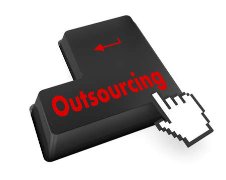 contracting: Keyboard Illustration with Outsourcing wording