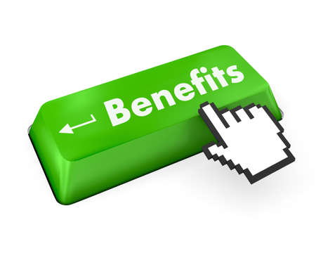 fringe benefit: Benefits - Business Concept. Button on Modern Computer Keyboard. 3D Render. Stock Photo