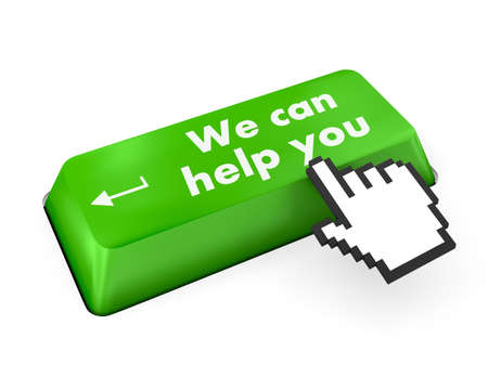 we can help you written on computer button photo