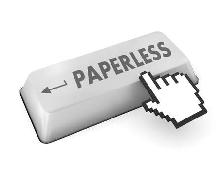 paperless: Paperless word on  keyboard button Stock Photo
