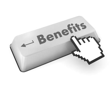 Benefits - Business Concept. Button on Modern Computer Keyboard. 3D Render. photo