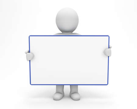 3d man holding blank board Stock Photo