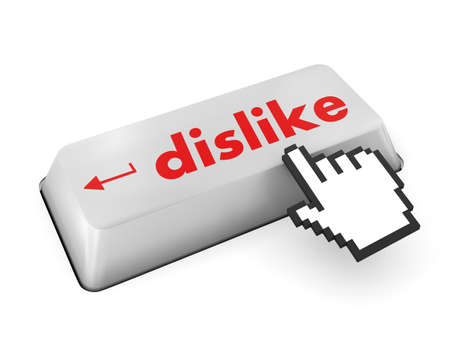 discourage: dislike key on keyboard for anti social media concepts