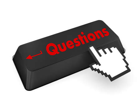 malfunction: question enter button key on  keyboard Stock Photo
