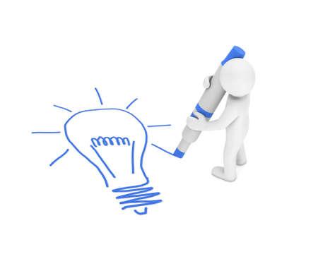 man Drawing idea and lamp photo