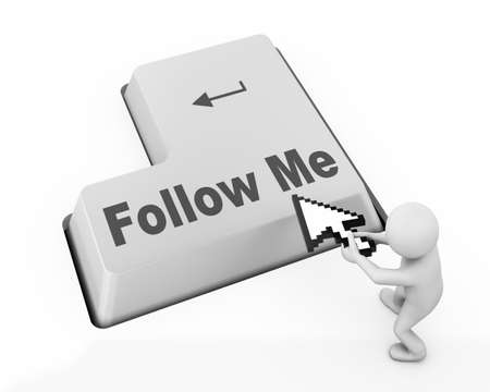 follow me:  keyboard with  Follow Me button Stock Photo