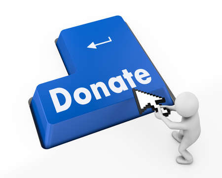 tremor: donate button on computer keyboard pc key 3d