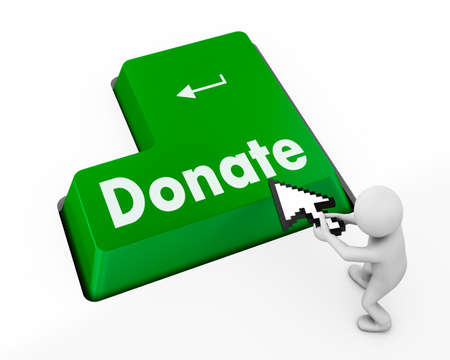donate button on computer keyboard pc key 3d photo
