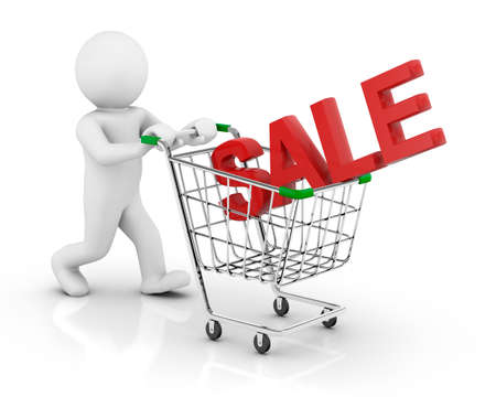 sale and cart 3d photo