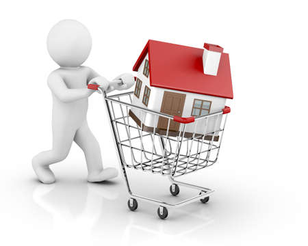 3d house in a shopping cart isolated on white background photo