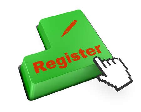 voter registration: register keyboard 3d render Stock Photo