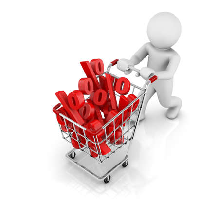 3d shopping cart with percentages photo