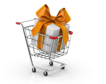 orenge: Gift in shopping cart 3D Stock Photo