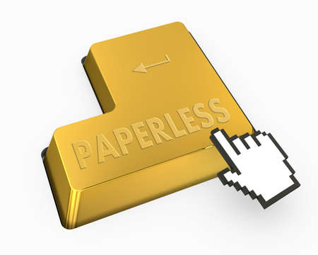 paperless: paperless button Stock Photo