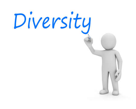 diversity text and man Stock Photo