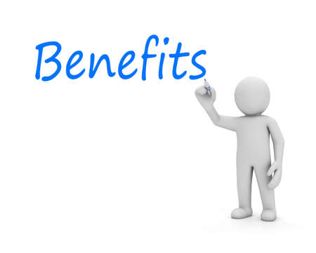 benefits text and man