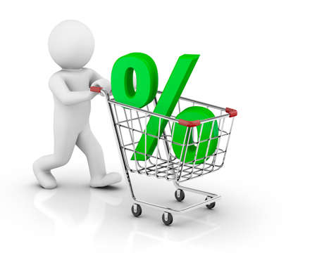 3d human with shopping cart and percent photo