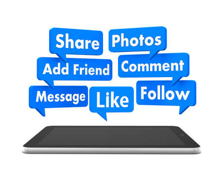 social media and tablet 3d photo