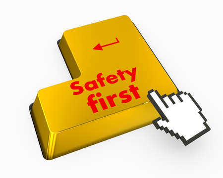 safety first: safety first text on computer keyboard
