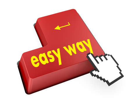 qwerty: easy way button 3d render Stock Photo