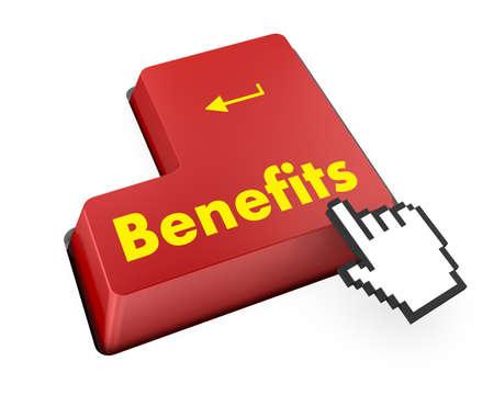 fringe benefit: Benefits keyboard 3d render