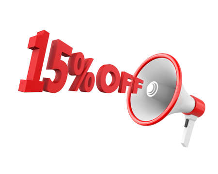 15: 15% discount and man Stock Photo