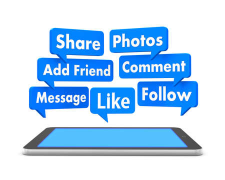 add as friend: social media and tablet 3d