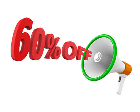 60: 60% discount and man Stock Photo