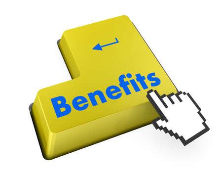 Benefits keyboard 3d render photo
