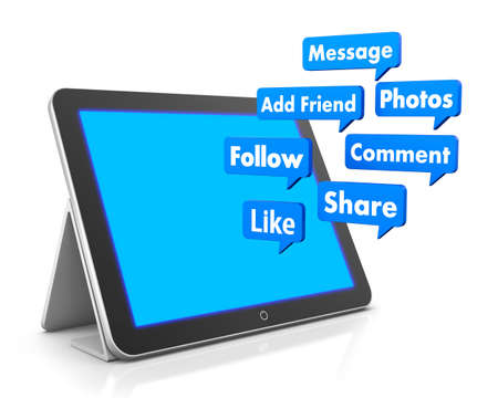 add as friend: social media buttons and tablet 3d Stock Photo