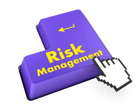 Orange Risk Management Button on Computer Keyboard. Business Concept. photo