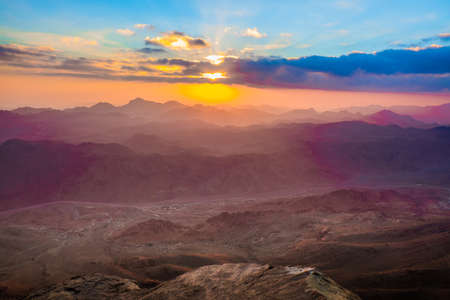 mountains and sky: Amazing Sunrise at Moses (Sinai) Mountain Stock Photo