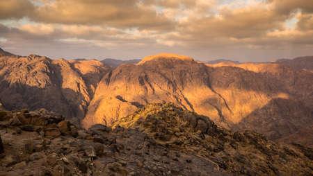 bible ten commandments: View from Mount Sinai. Egypt.