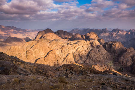 bible ten commandments: View from Mount Sinai. Egypt.