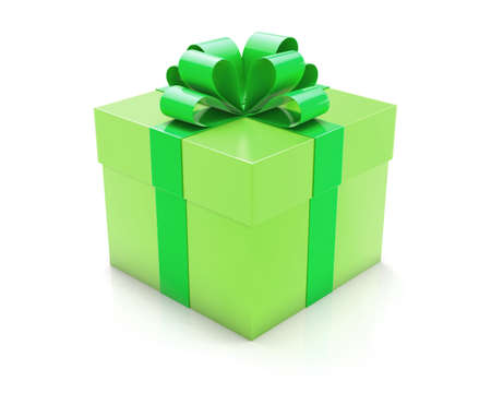 wrap wrapped: green gift 3d Stock Photo