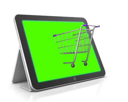 mobile shopping and cart 3d photo