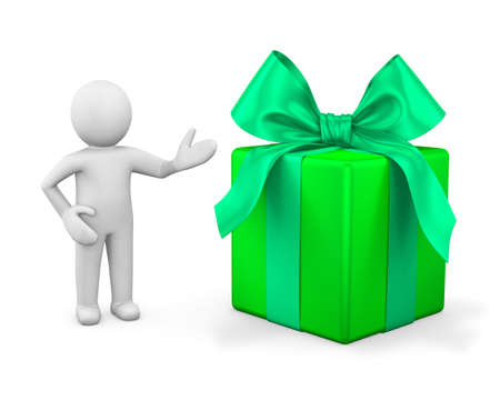 x stand: 3d man presenting gift box over white background