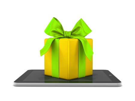 gift box and tablet 3d photo