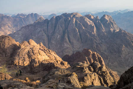 bible ten commandments: View from Mount Sinai in Egypt.